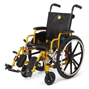 medline pediatric wheelchair rental default image. The chair is yellow with black fabric and black wheels. A smiley face is embroidered at the top of the seat.