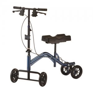 Tall Knee Scooter Rental default image. A blue Nova HD Knee Walker is shown against a white background. Black knee seat and parts, dark blue frame.