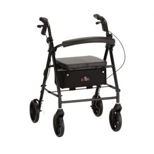 Rolling Walker Rental or rollator rental default image. A Nova Vibe 8 Walker in black against a white background.