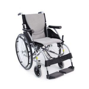 Karman S-Ergo Lightweight Wheelchair. The chair is shown against a white background. Grey seat with black accents, black leg rests and wheels.