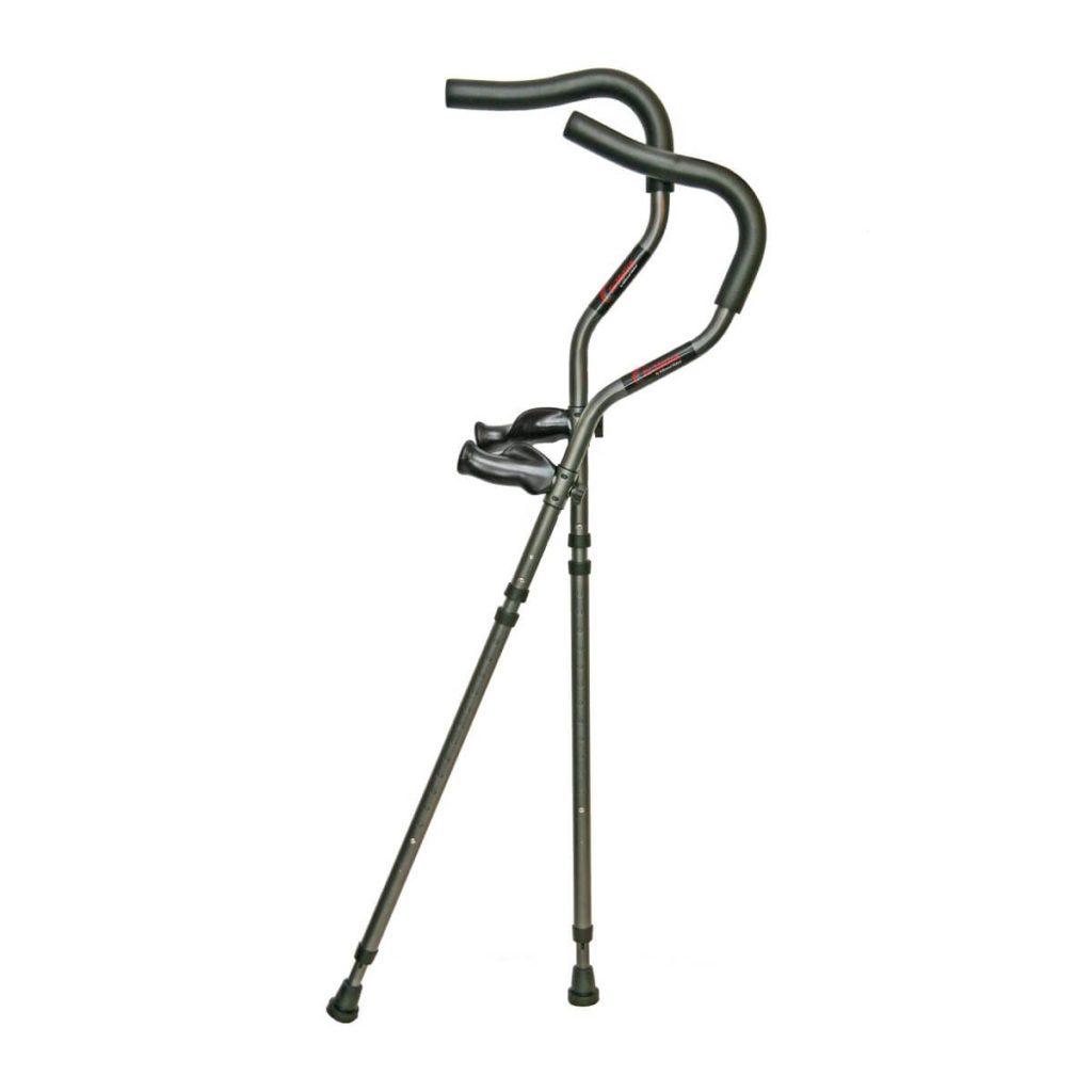 In-Motion Pro Crutches. Theses crutches have a stylized, curved under arm cushion for comfort. The handgrips are ergonomically shaped. Used mainly by athletes. On a white background.