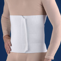 "FLA 3-Panel Surgical Abdominal Binder 9"". Worn by a model in a beige shirt, the white binder is wrapped around the waist and stretches from the waist to just below the pectoral area."