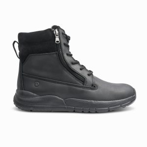 Anodyne Trail Worker boot. A middle height hiking boot with a zipper for easy donning. The boot is black with black laces and a black sole.