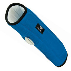 Brown Med IMAK RSI Pil-O-Splint. Blue brace with black accents. White on the interior. Hole for thumb.