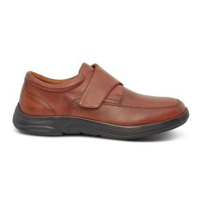 Anodyne Casual Oxford shoe. A brown loafer-style shoe with a black sole. One brown velcro strap.
