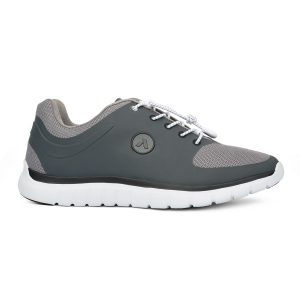 Anodyne Men's Sports Runner. A dark gray shoe with light gray accents, white laces and a white sole. Ankle high. The anodyne logo is on the side of the shoe.