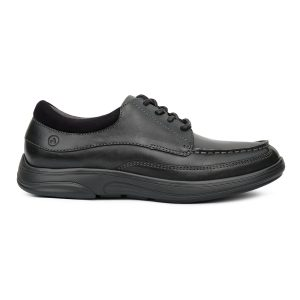 Anodyne Casual Dress Laced Men's style. A black casual/dress combo shoe. Laces, shoe and sole are all onyx black.