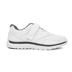Anodyne Men's Sport Walker Velcro. A white sports shoe with red accents. Velcro strap over the top of the laces for security.