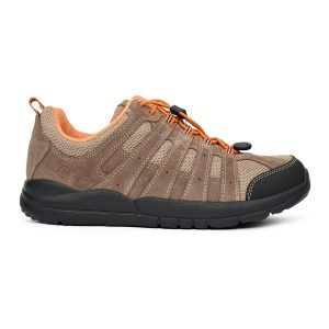 Anodyne Men's Trail Walker. A tan hiking shoe with orange accents and a black sole.