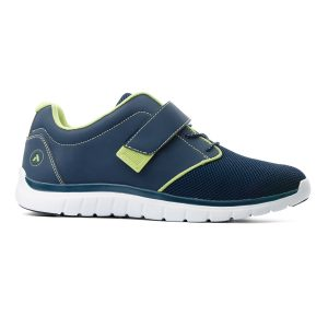 Anodyne Sports Jogger. A jogging shoe in blue with green accents and a white sole. Blue and green velcro strap.