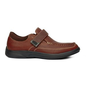 Anodyne Casual Dress Men's shoe. A brown casual/dress combo shoe with black accents and sole. One brown velcro strap provides sizing.