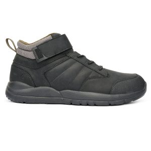 Anodyne Men's Trail Boot. A black hiking-style boot with gray accents. A velcro strap is at the top of the laces for lace security.