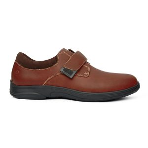 Anodyne Men's Casual Comfort Velcro. A brown shoe with a black sole and brown velcro strap.