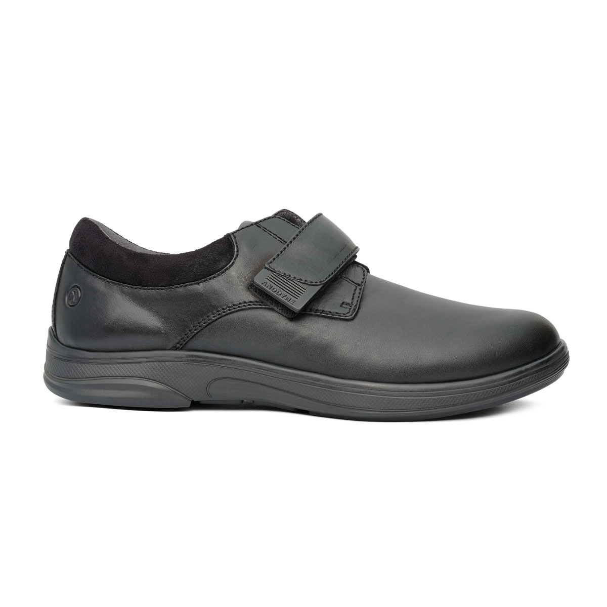 Anodyne Men's Casual Comfort Stretch. Shiny black casual loafer with one velcro strap.