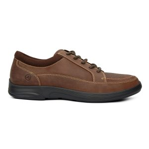 Anodyne Men's Casual Sport Laced. A brown, laced shoe with stylized stitching.