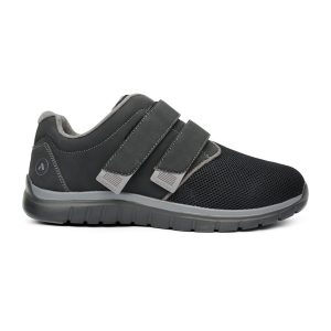 Anodyne Men's Sport Double Depth Velcro. A black casual shoe with gray accents. Two velcro straps in the mid-foot.