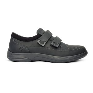 Anodyne Men's Casual Sport Velcro. A black, casual shoe with two black velcro straps.