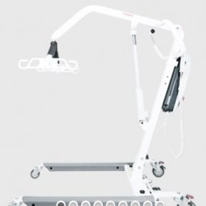 Bestcare PL400E Patient Lift in white, profile shot. The lift is in its lowest position, usually reserved for getting at patient out of low bed.