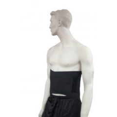 Brown Med Polar Ice Back Wrap. A snow white mannequin wears the dark black brace, fitted for its size.