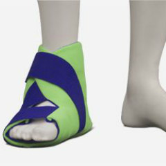 Brown Med Polar Ice Foot/Ankle Wrap. A green brace with blue straps worn by a mannequin--only the foot and ankle are shown.