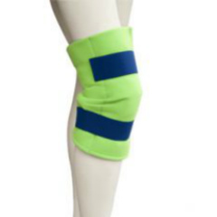 Brown Med Polar Ice Large Knee Wrap. Picture of a mannequins knee wearing a neon green brace with blue straps.