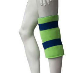 Brown Med Polar Ice Standard Knee Wrap Picture of a mannequins knee wearing a neon green brace with blue straps.