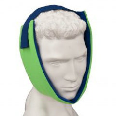 Brown Med Polar Ice TMJ Wrap Picture of a mannequins head wearing a neon green brace with blue straps. Wrapped tightly around the jaw.
