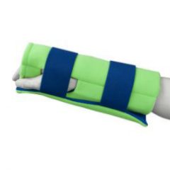 Brown Med Polar Ice Wrist/Elbow Wrap. Picture of a mannequins wrist and hand wearing a neon green brace with blue straps.