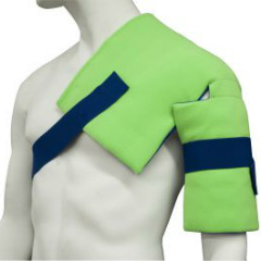 Brown Med Polar Ice Shoulder/Hip Wrap. Picture of a mannequins chest and shoulders wearing a neon green brace with blue straps. the pad covers the mannequins left pectoral, entire left shoulder and upper arm.