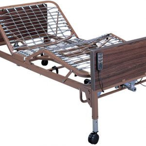 Roscoe Full Electric Hospital Bed shown against a white background. The bed is on wheels and has a faux-wood finish, plastic header and footer. The springs are shown raised at the head and foot position, showing the range of motion for this hospital bed.