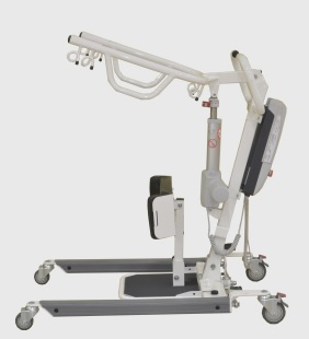 Bestcare SA400E Stand Assist Lift in grey, a side view. The stand assist is currently in its lowest position--used for attaching to seated patients.