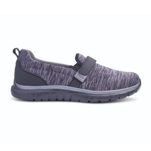 Anodyne Women's No. 11 Sport Trainer. A blue and gray spackled shoe. Two black velcro straps are in place for tightening.