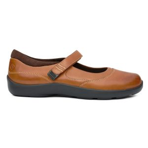 Anodyne Women's Casual Mary Jane. A casual open-foot, closed-toe shoe in light brown. A strap goes across mid-foot.