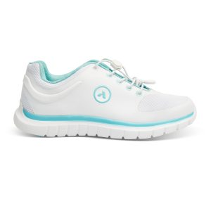 Anodyne Women's Sport Runner. White sports shoe with some very discreet light blue accents.