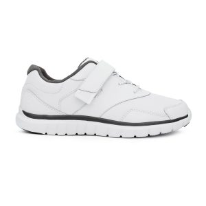 Anodyne Women's Sport Walker Velcro. A white sports shoe with red accents. Velcro covers the top portion of the laces.