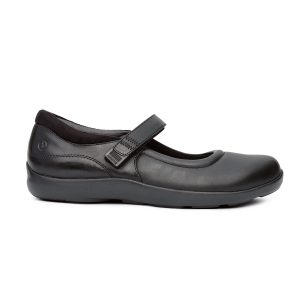 Anodyne Women's Casual Mary Jane Stretch. Black open-foot, closed-toe shoe with a strap mid-foot.