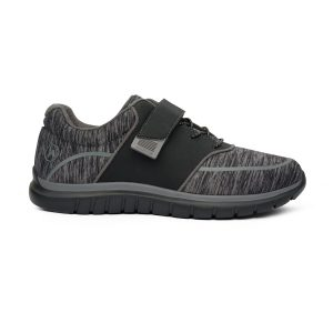 Anodyne Women's Sport Jogger A gray and black spackled shoe. Two black velcro straps are in place for tightening.