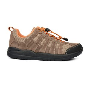 Anodyne Women's Trail Walker. A tan hiking shoe with orange accents and a black sole.