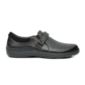 Anodyne Women's Casual Dress Velcro. A shiny black dress shoe with a buckle that goes across mid-foot.