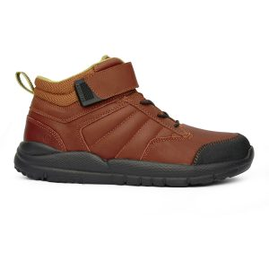 Anodyne Women's Trail Boot. A brown, ankle high boot with black laces and a brown velcro strap.