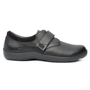 Anodyne Women's Casual Comfort Stretch. A black dress shoe with a buckle over the middle of the foot.
