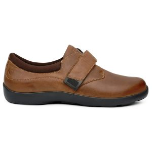 Anodyne Women's Casual Comfort Velcro. A casual, one-strap velcro shoe--brown with a black sole.