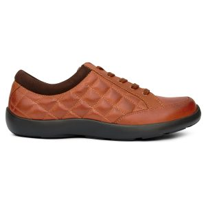 Anodyne Women's Casual Sport Laced. A pleated brown shoe with a black sole.