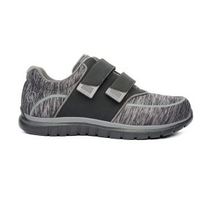 Anodyne Women's Sport Double Depth. A gray and black spackled shoe. Two black velcro straps are in place for tightening.