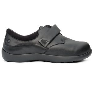 Anodyne Women's Casual Double Depth Velcro. A casual black shoe with one large black velcro strap.