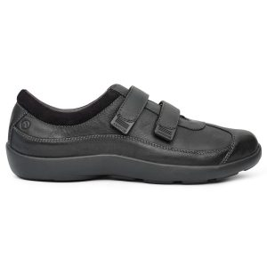 Anodyne Women's Casual Sport Velcro. A black, casual shoe with two black velcro straps.
