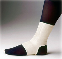 FLA Elastic Pullover Ankle Support over a black mannequin foot. Beige, open-heel design, stretches from mid-foot to just above the ankle.
