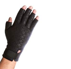 Thermoskin Premium Thermal Compression Arthritis Gloves. A model shows off a textured, black glove. Only the fingertips are visible outside of the glove.