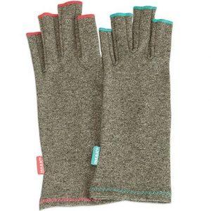 Brown Med IMAK Arthritis Gloves--sand colored fingerless gloves on a white background.