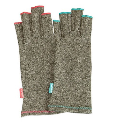 Brown Med IMAK Arthritis Gloves--sand colored fingerless gloves on a white background.